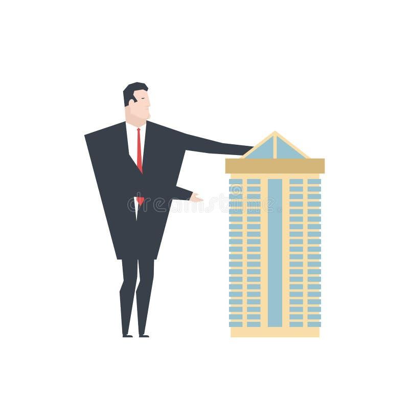 Pośredników handlu nieruchomościami przedstawień dom budynek biurowy dla sprzedaży Wektorowy illustrati ilustracji