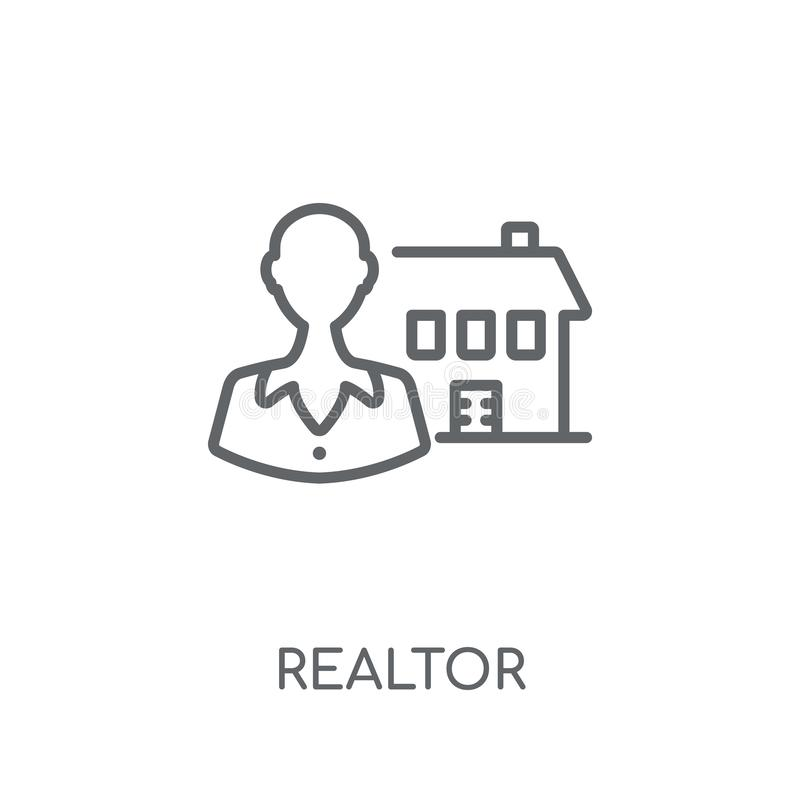Pośrednik handlu nieruchomościami liniowa ikona Nowożytny konturu pośrednik handlu nieruchomościami logo pojęcie na whit ilustracji