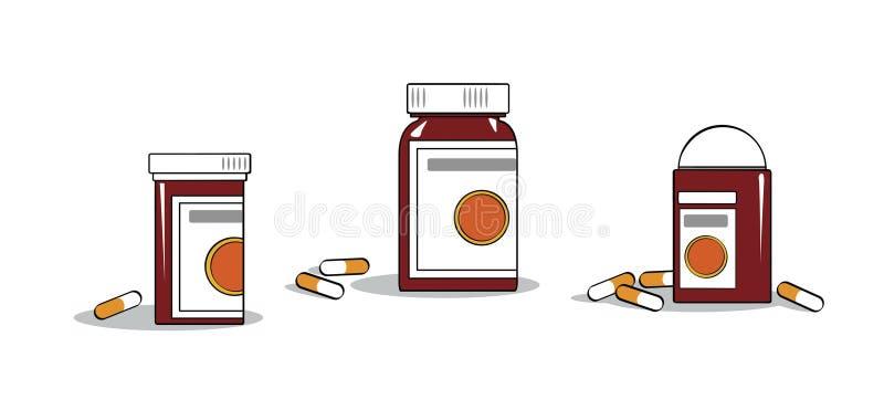 Poświadczać medycyny Buteleczki i kapsuły z medycynami na stole ilustracji