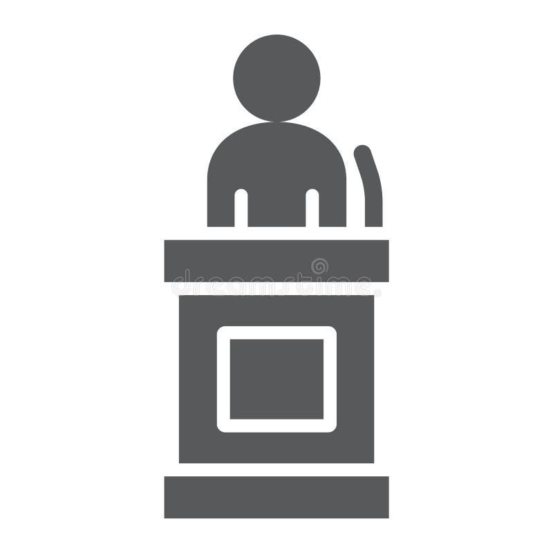 Poświadcza glif ikonę, sprawiedliwość i prawo, oskarżonego znak, wektorowe grafika, bryła wzór na białym tle ilustracja wektor