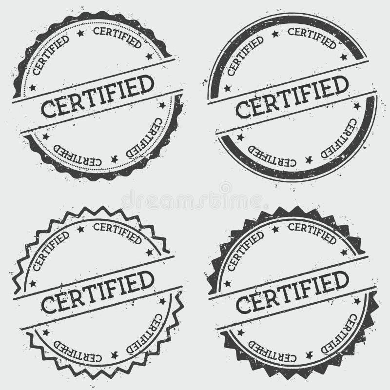 Poświadczający insygnia znaczek odizolowywający na bielu royalty ilustracja