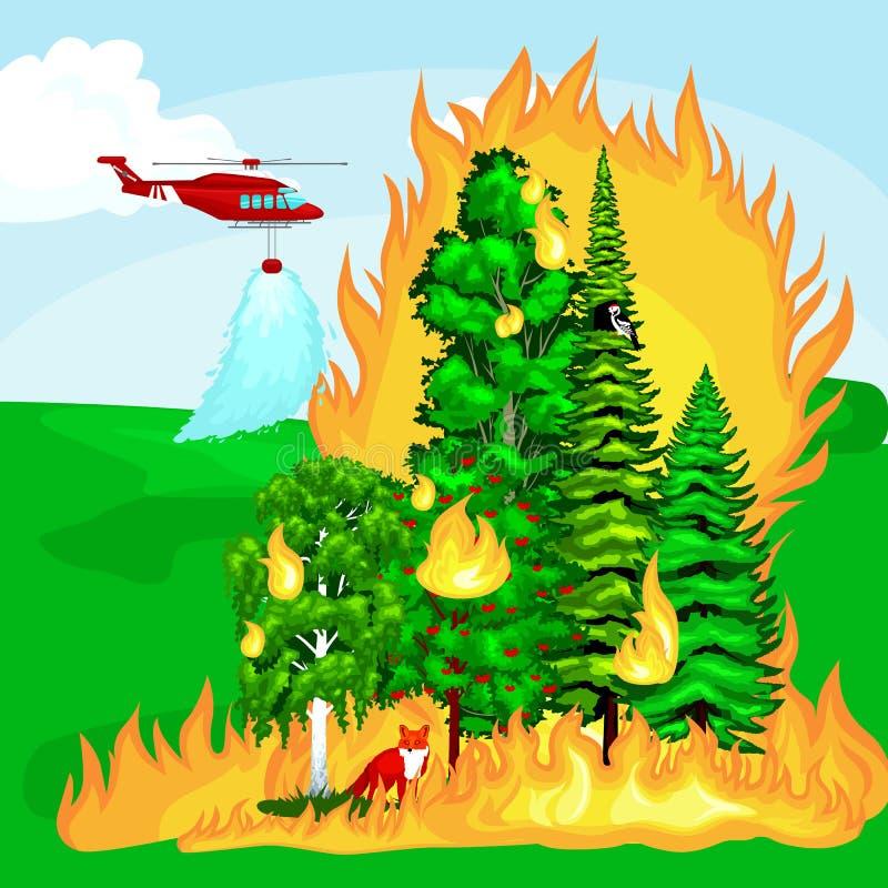 Pożar Lasu, ogień w lasu krajobrazu szkodzie, natury ekologii katastrofa, gorący płonący drzewa, niebezpieczeństwo pożaru lasu pł ilustracji