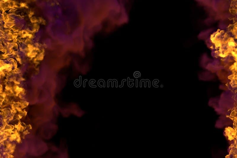 Pożarnicza 3D ilustracja tajemnicza rozjarzona ogień rama odizolowywająca na czarnym tle z ciężkim dymem - wierzchołek i dno jest royalty ilustracja