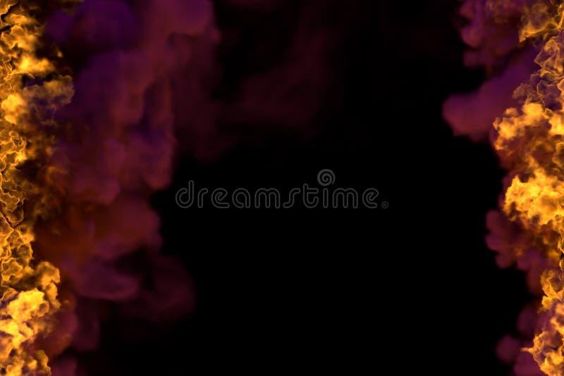 Pożarnicza 3D ilustracja tajemnicza rozjarzona ogień rama odizolowywająca na czarnym tle z zmroku dymem - wierzchołek i dno jeste ilustracji