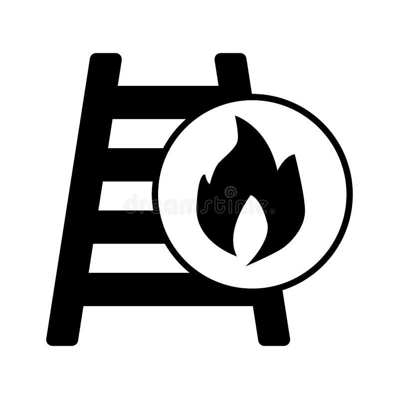 Pożarnicza drabina, drabina, Pożarnicza stała ikona Wektorowa ilustracja odizolowywająca na bielu glifu stylu projekt, projektują ilustracja wektor