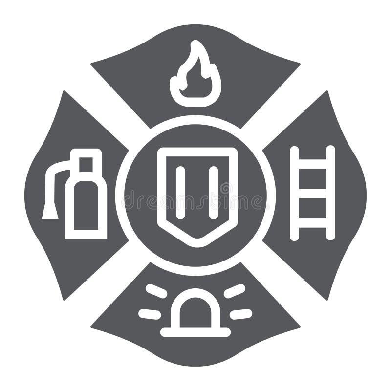 Pożarnicza emblemata glifu ikona, symbol i strażak, pożarniczy odznaka znak, wektorowe grafika, bryła wzór na białym tle royalty ilustracja