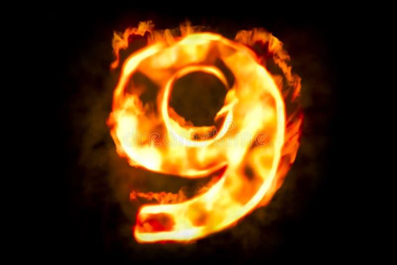 Pożarnicza liczba 9 palenie płomienia światło, 3D ilustracji