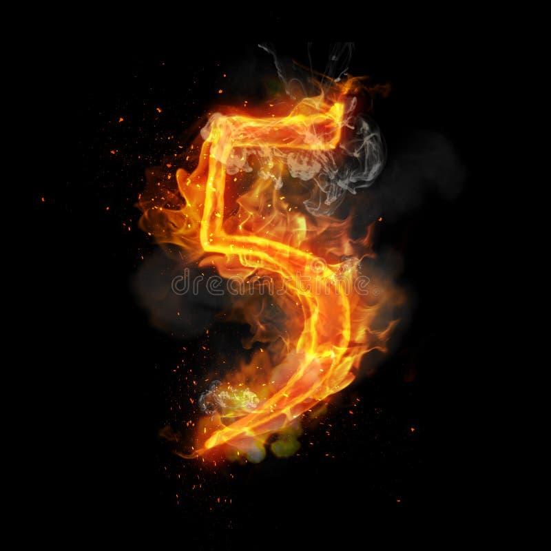 Pożarnicza liczba 5 pięć palenie płomień royalty ilustracja
