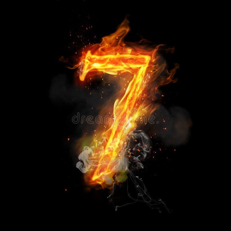 Pożarnicza liczba 7 siedem palenie płomień ilustracji