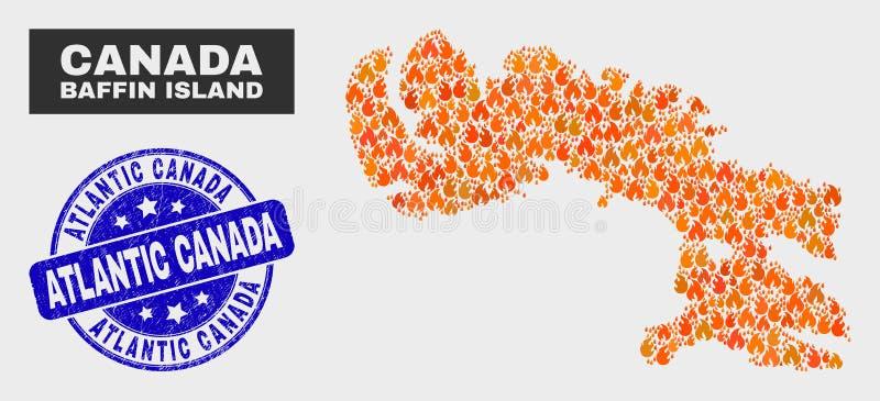Pożarnicza mozaiki Baffin wyspy mapa i Porysowany Atlantycki Kanada znaczek royalty ilustracja