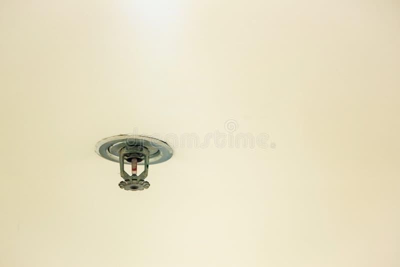 Pożarnicza ochrona Pożarnicza kropidło głowa na białym suficie w budynku, obrazy stock