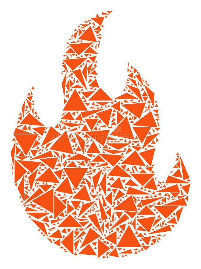 Pożarnicza płomień mozaika trójboki royalty ilustracja