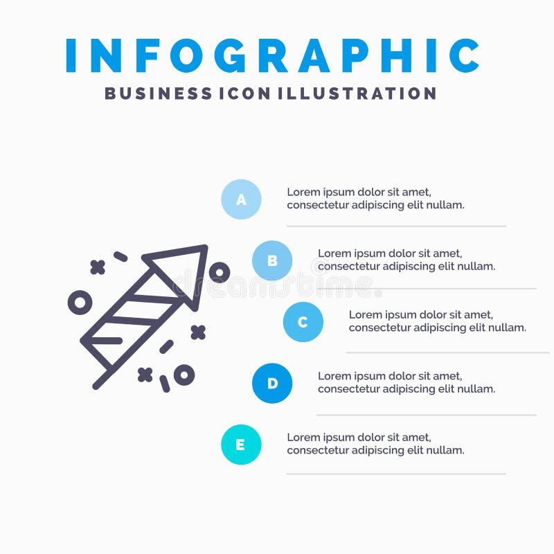 Pożarnicza praca, ogień, Kanada, Kreskowa ikona z 5 kroków prezentacji infographics tłem ilustracja wektor