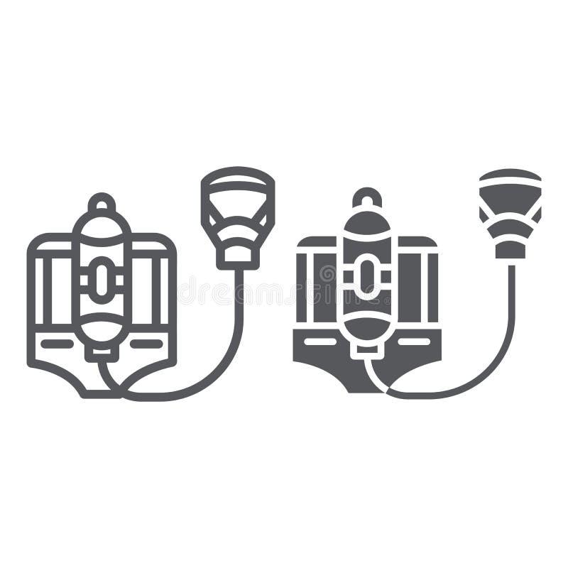 Pożarnicza respirator linia, glif ikona, palacz i wyposażenie, ogień maski znak, wektorowe grafika, liniowy wzór na bielu ilustracji