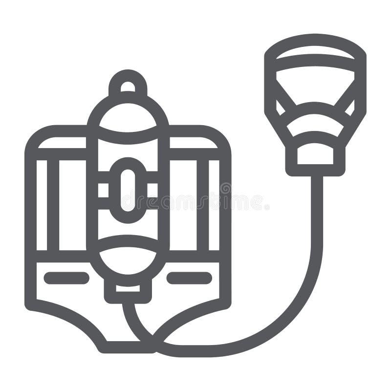 Pożarnicza respirator linii ikona, palacz i wyposażenie, ogień maski znak, wektorowe grafika, liniowy wzór na bielu ilustracji