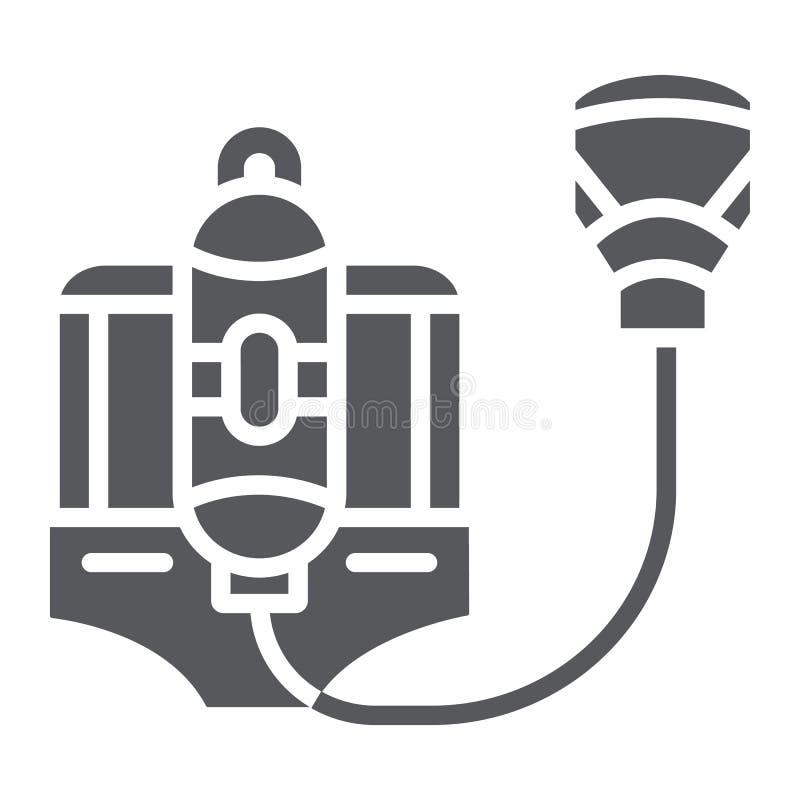 Pożarnicza respiratoru glifu ikona, palacz i wyposażenie, ogień maski znak, wektorowe grafika, bryła wzór na bielu royalty ilustracja