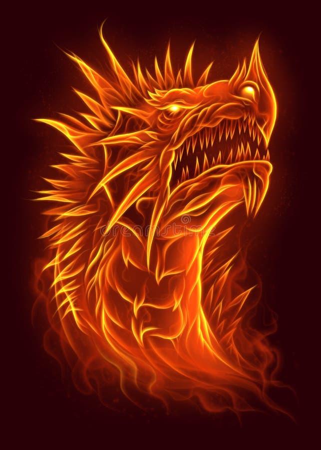 Pożarnicza smok głowa ilustracja wektor