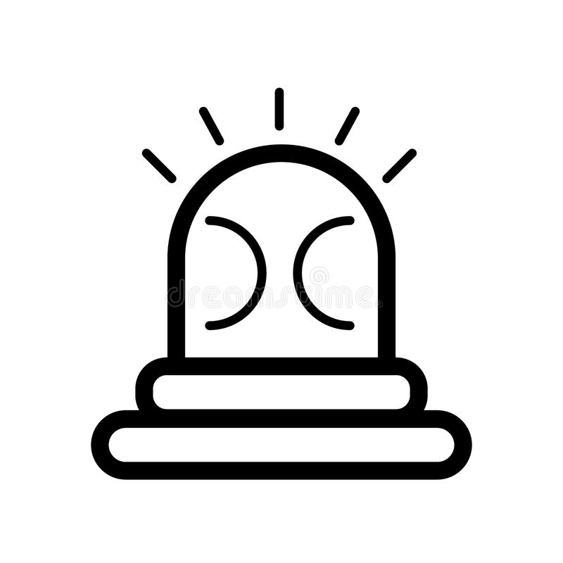 Pożarnicza syreny linii ikona Wektorowa ilustracja odizolowywająca na bielu konturu stylu projekt, projektujący dla sieci i app 1 ilustracji