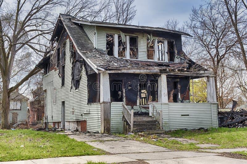 Pożarnicza szkoda W Detroit domu zdjęcia royalty free