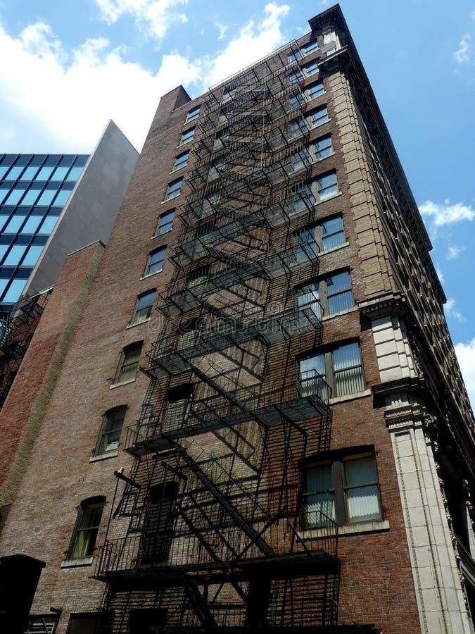 Pożarnicza ucieczka budynek mieszkaniowy w Boston Massac zdjęcie royalty free