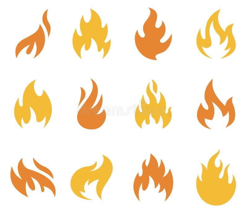 Pożarnicze płomień ikony, symbole i ilustracji