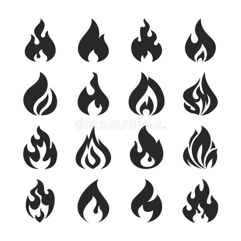 Pożarnicze płomienia i ogniska sylwetki wektorowe ikony ustawiać royalty ilustracja