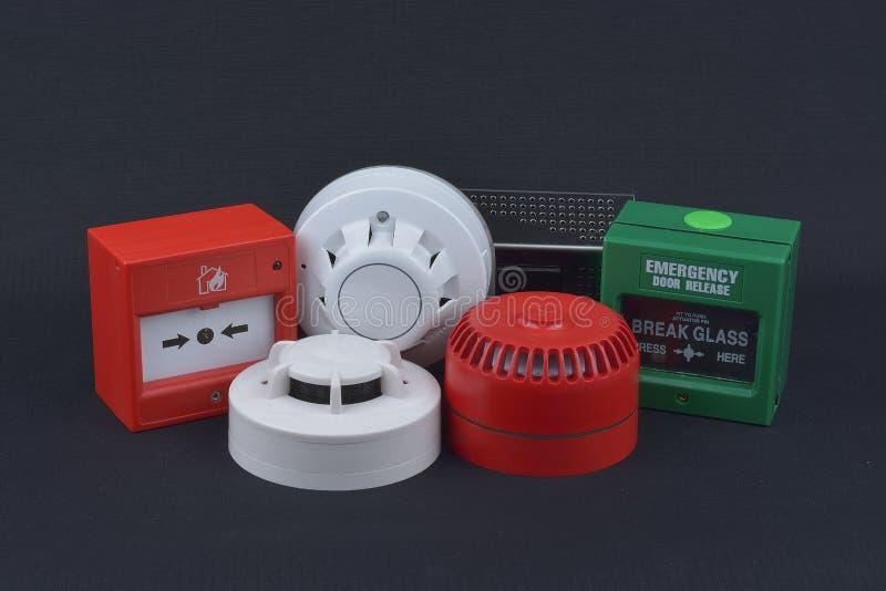 Pożarniczego alarma ochrona na zmroku obraz royalty free
