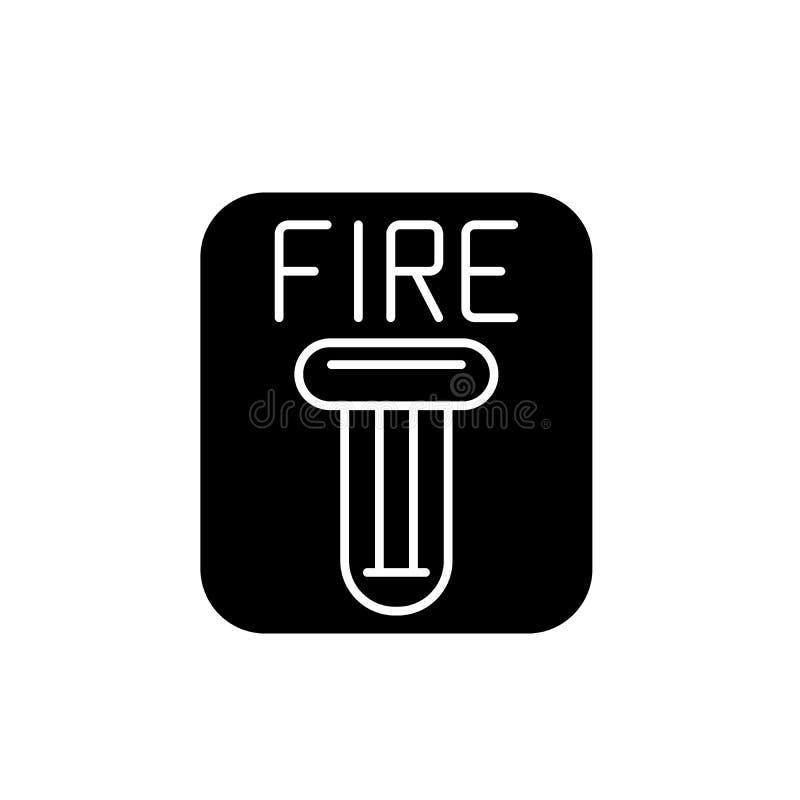 Pożarniczego bezpieczeństwa czerni ikona, wektoru znak na odosobnionym tle Pożarniczego bezpieczeństwa pojęcia symbol, ilustracja ilustracji