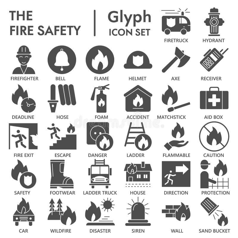 Pożarniczego bezpieczeństwa glifu ikony set, przeciwawaryjni symbole kolekcja, wektor kreśli, logo ilustracje, pilność znaki stal
