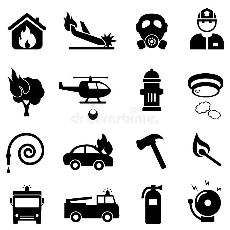 Pożarniczego boju sieci ikony set ilustracji