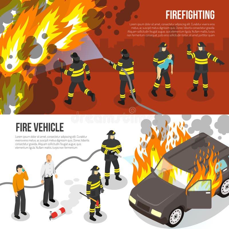 Pożarniczego działu Horyzontalni sztandary ilustracja wektor