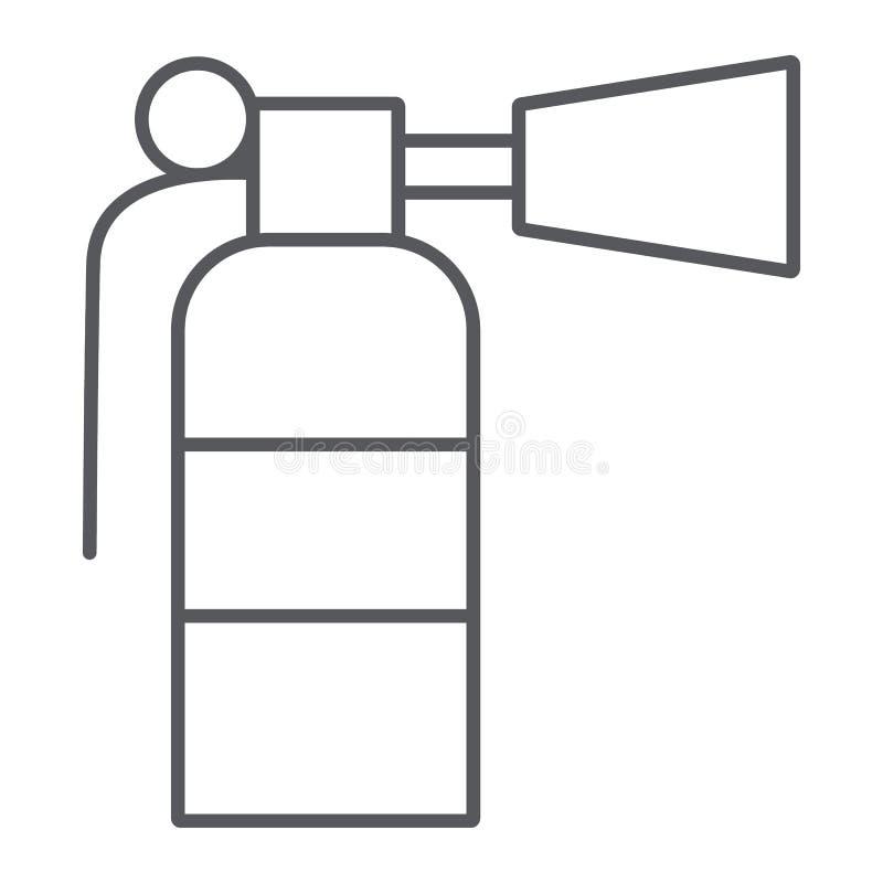 Pożarniczego gasidła cienka kreskowa ikona, przeciwawaryjny i pożarniczy, gasi szyldowe, wektorowe grafika, liniowy wzór na a royalty ilustracja