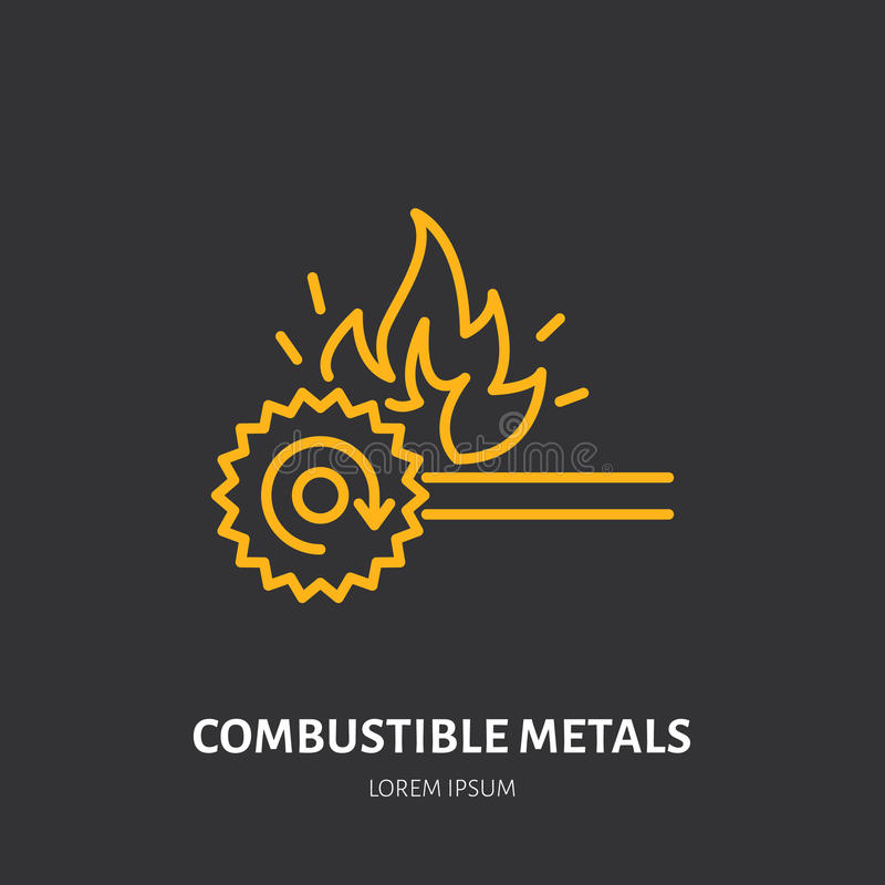 Pożarniczego gasidła mieszkania linii znak opałowi metale podpala typ Płomień ochrony cienka liniowa ikona, piktogram ilustracja wektor