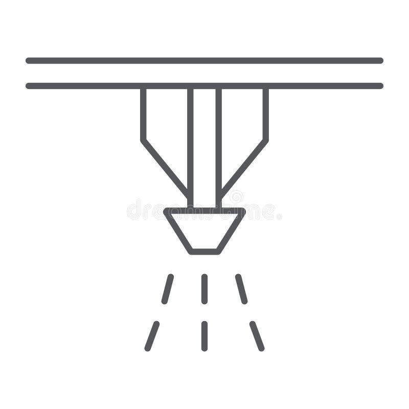 Pożarniczego kropidło systemu cienka kreskowa ikona, ochrona i ogień, pożarniczego detektoru znak, wektorowe grafika, liniowy wzó royalty ilustracja