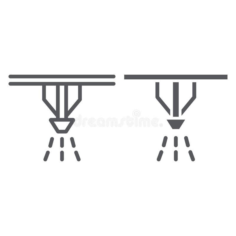 Pożarniczego kropidło systemu linia, glif ikona, ochrona i ogień, pożarniczego detektoru znak, wektorowe grafika, liniowy wzór da ilustracja wektor