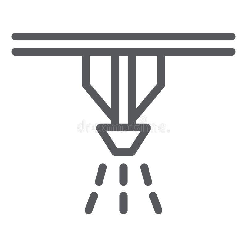 Pożarniczego kropidło systemu linii ikona, ochrona i ogień, pożarniczego detektoru znak, wektorowe grafika, liniowy wzór na bielu royalty ilustracja