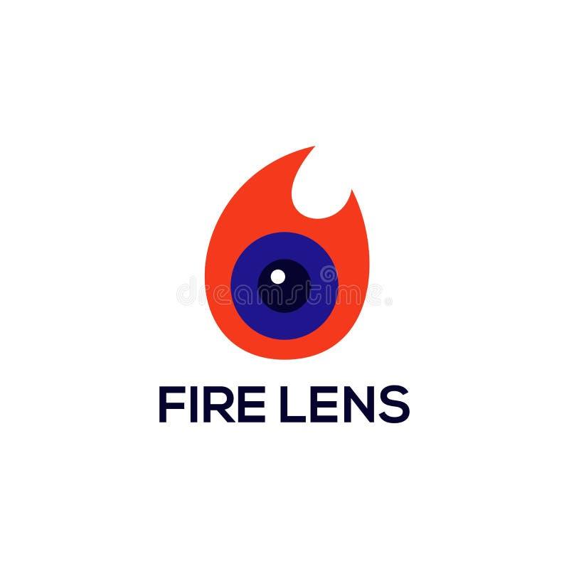 Pożarniczego obiektywu logo wektorowy projekt royalty ilustracja