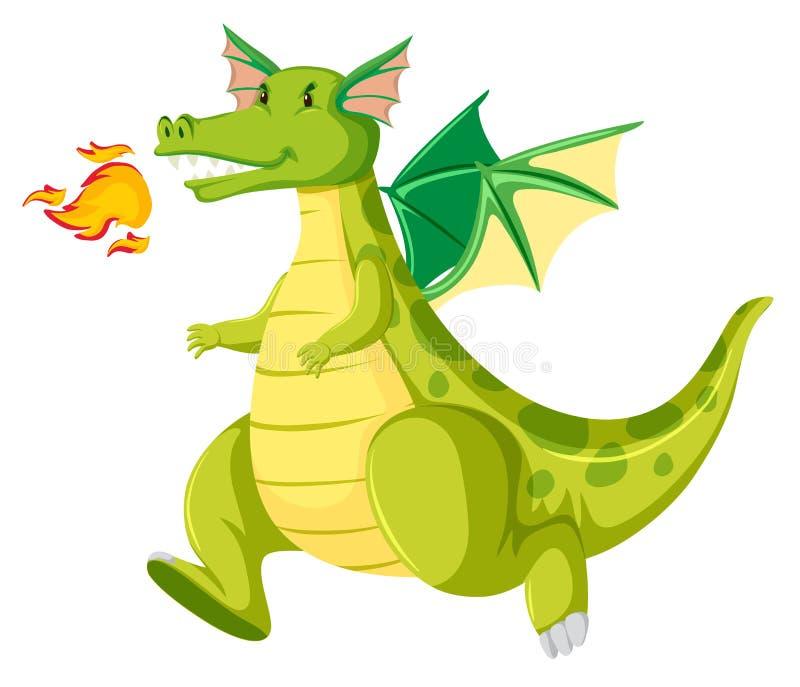 Pożarniczego oddychania zielony smok ilustracja wektor