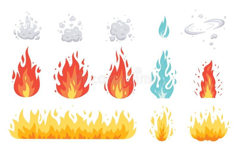 Pożarniczego płomienia wektorowe ikony w kreskówka stylu Płomienie różni kształty Kula ognista set, płomienni symbole royalty ilustracja