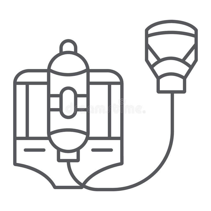 Pożarniczego respiratoru cienka kreskowa ikona, palacz i wyposażenie, ogień maski znak, wektorowe grafika, liniowy wzór na bielu ilustracja wektor
