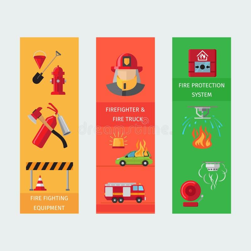 Pożarniczego ryzyka vertical ulotki ilustracji