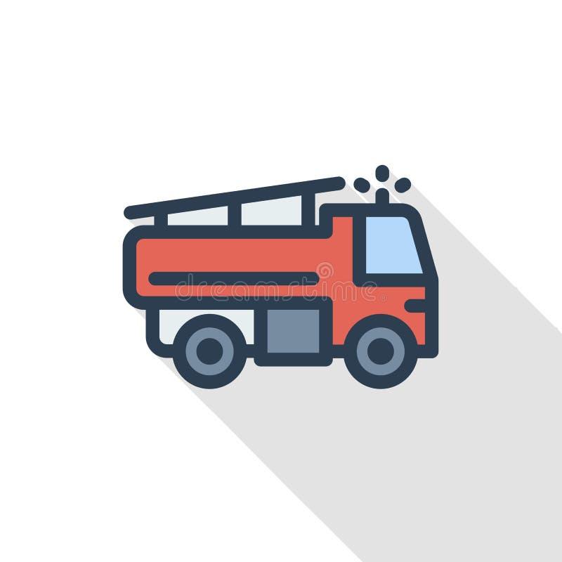 Pożarniczego silnika koloru cienka kreskowa płaska ikona Liniowy wektorowy symbol Kolorowy długi cienia projekt ilustracji