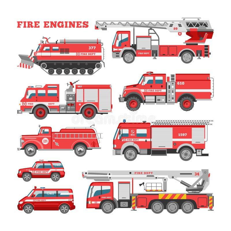 Pożarniczego silnika wektorowy pożarniczy przeciwawaryjny pojazd lub czerwieni firetruck z ilustracyjnym ustawiającym firehose i  royalty ilustracja