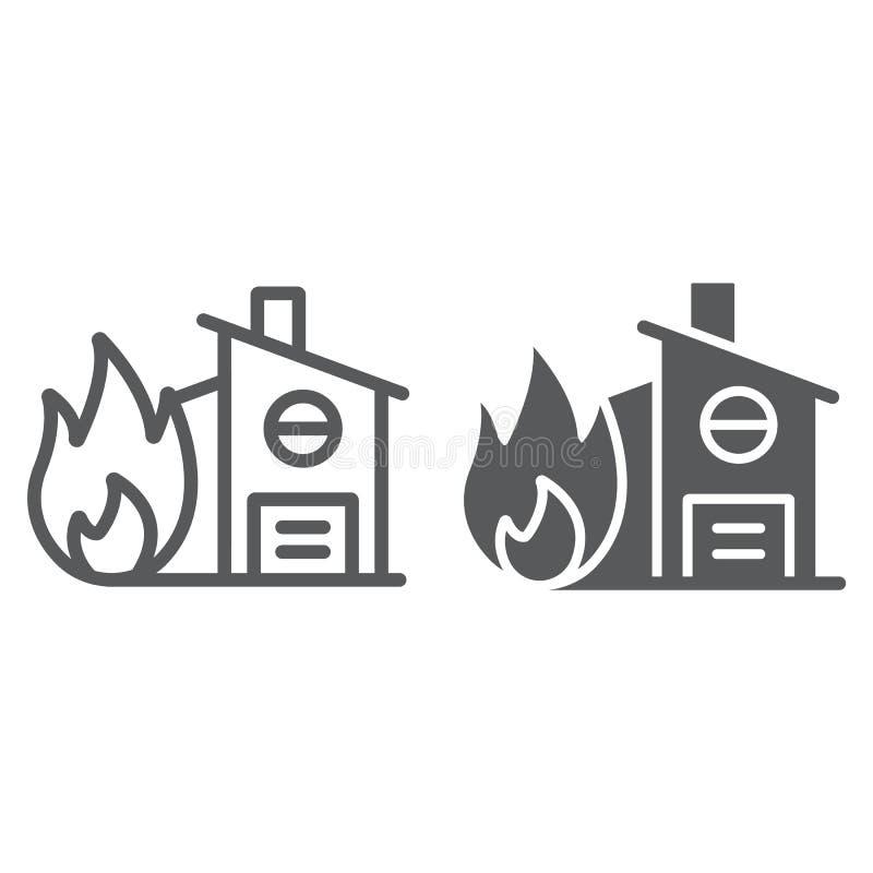 Pożarniczego ubezpieczenia linia, glif ikona, ochrona i dom, dom na ogienia znaku, wektorowe grafika, liniowy wzór na a royalty ilustracja