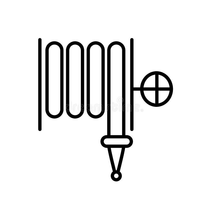 Pożarniczego węża elastycznego linii ikona Wektorowa ilustracja odizolowywająca na bielu konturu stylu projekt, projektujący dla  ilustracja wektor