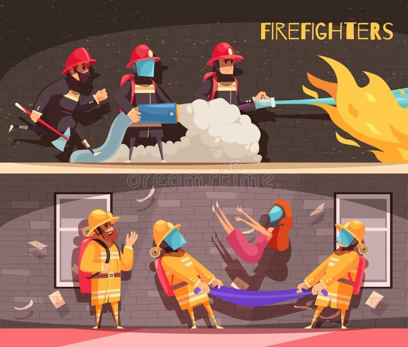 Pożarniczego wojownika sztandary Ustawiający ilustracja wektor