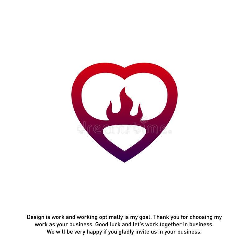 Pożarniczej miłości logo Kreatywnie pojęcia, płomienia logo szablon, elementy i symbole, szablon - wektor ilustracja wektor