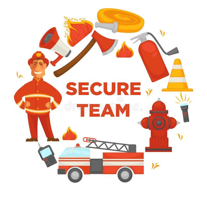 Pożarniczej ochrony bezpiecznie drużynowy plakat gasi wyposażenie wektorowe płaskie ikony strażak ilustracji