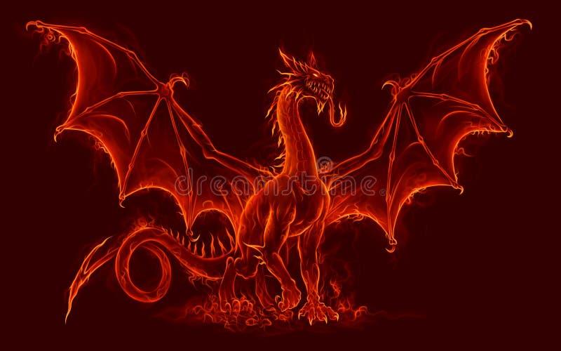 Pożarniczy średniowieczny smok royalty ilustracja