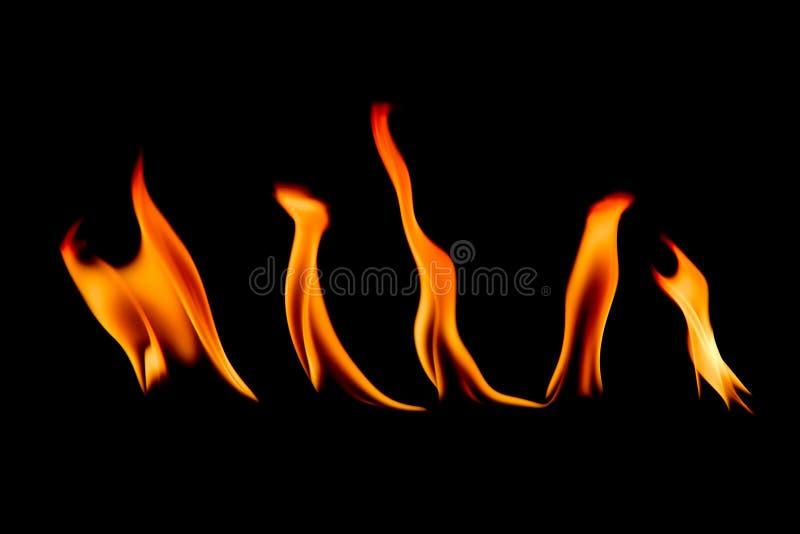 Pożarniczy abstrakt i płonie kształty odizolowywających na czerni obrazy royalty free
